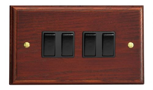Varilight XK9MB Kilnwood Mahogany 4 Gang 10A 1 or 2 Way Rocker Light Switch